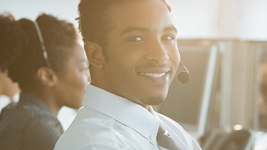 man working in a call center
